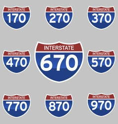 INTERSTATE SIGNS 170-970 vector image