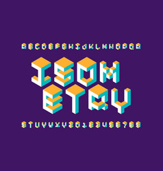 Isometric 3d font three-dimensional alphabet vector