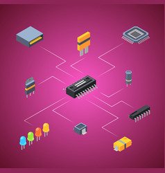isometric microchips electronic parts icons vector image