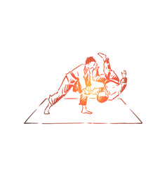 Karate sparring young fighter in kimono throwing vector