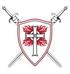 Knightly design crusader knight shield vector