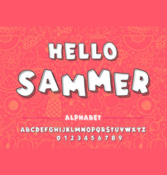 latin alphabet hello summer font in cute cartoon vector image