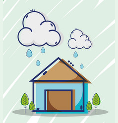 Liner house with clouds raining weather vector