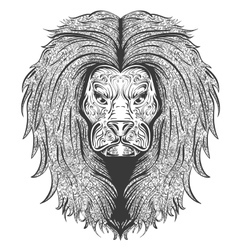 Lion black and white vector image