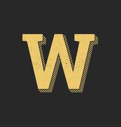 logo letter w gold vintage vector image