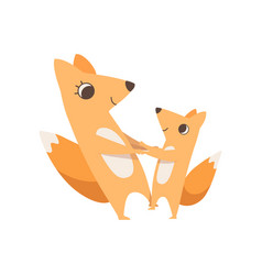 loving mother fox and her little baby holding vector image