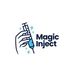 Magic injection vaccine medicine hand logo icon vector