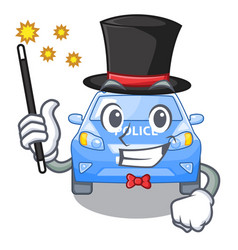 Magician car police isolated with in mascot vector