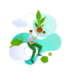 man on cloud pointing with hand on green sprout vector image