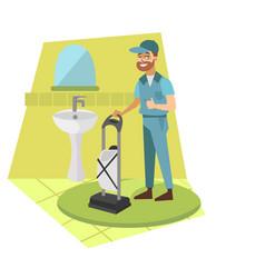 man vacuum cleaner in bathroom vector image