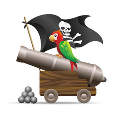medieval pirate flag and cannon vector image