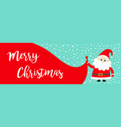 merry christmas banner santa claus holding big vector image