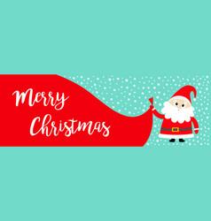 merry christmas banner santa claus holding big vector image