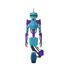modern robot on wheel robotic technology vector image