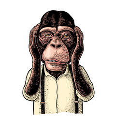 monkeys with hands on ears vintage black vector image