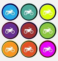 Motorbike icon sign Nine multi colored round vector