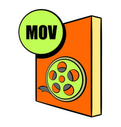Mov file icon cartoon vector