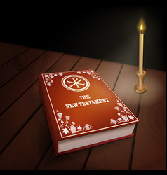 New testament book on wood table with candle vector