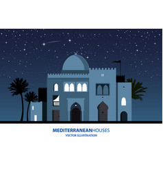 night view of mediterranean arabic or moroccan vector image