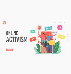 Online activism digital protest landing page vector