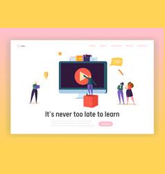 Online business education concept landing page vector