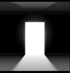 open door with light on dark empty background vector image