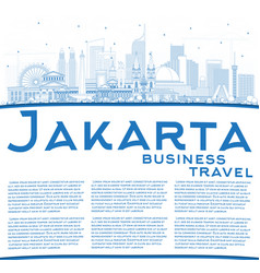 Outline jakarta indonesia city skyline with blue vector