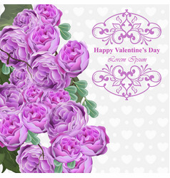pink peony flowers card background floral vector image