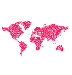 pink world map with hearts i love you tags for vector image