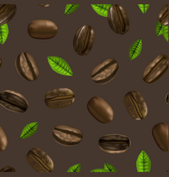 realistic 3d coffee various beans seamless pattern vector image