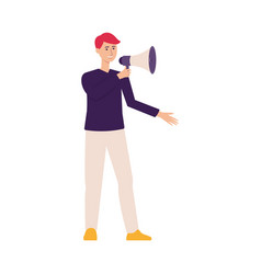 refer a friend concept man with megaphone flat vector image