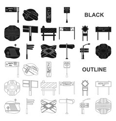 Road junctions and signs black icons in set vector