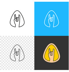rock on hand sign outline style rock and roll vector image