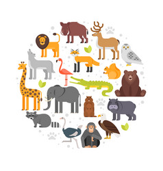 round composition of zoo animals icons vector image