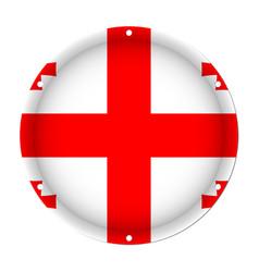 Round metallic flag of georgia with screw holes vector