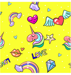 seamless pattern with fashion cute love vector image