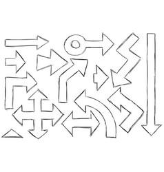 set arrows doodles vector image