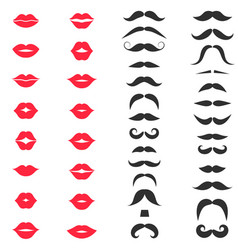 set hipster mustache on white background vector image
