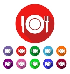 Set of colored icons with a plate vector image