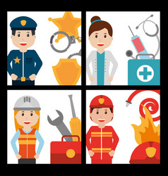set of people worker profession card vector image