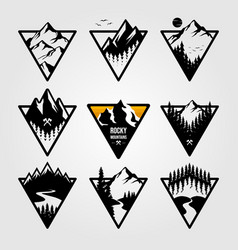 set vintage mountain triangle logo view vector image