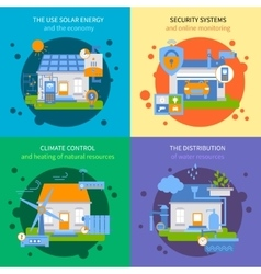 Smart House Colored Icon Set vector image