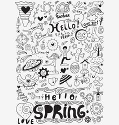 Spring doodle set vector