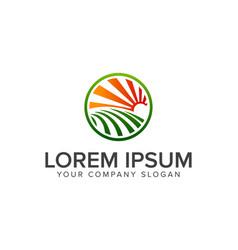 sun garden landscape logo design concept template vector image