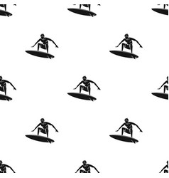 surfer in action icon in black style isolated on vector image