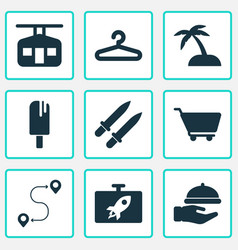 tourism icons set with popsicle swords waiter vector image