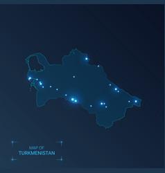 Turkmenistan map with cities luminous dots - neon vector