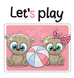Two cute bears with a ball vector