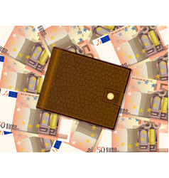 wallet on fifty euro background vector image