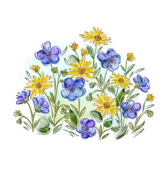 Watercolor flowers violets and pansy and leaves on vector